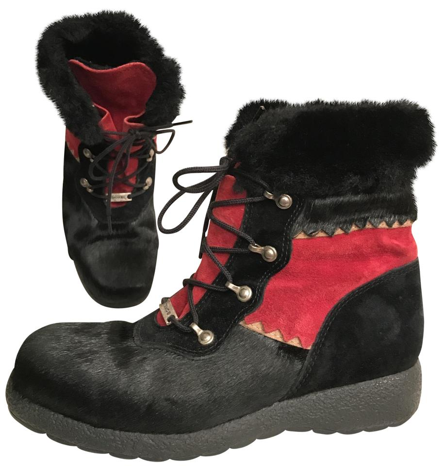 9d801ec10f2e Sorel Black Red Calf Hair Suede Waterproof Lace-up Ankle Wedge Boots Booties