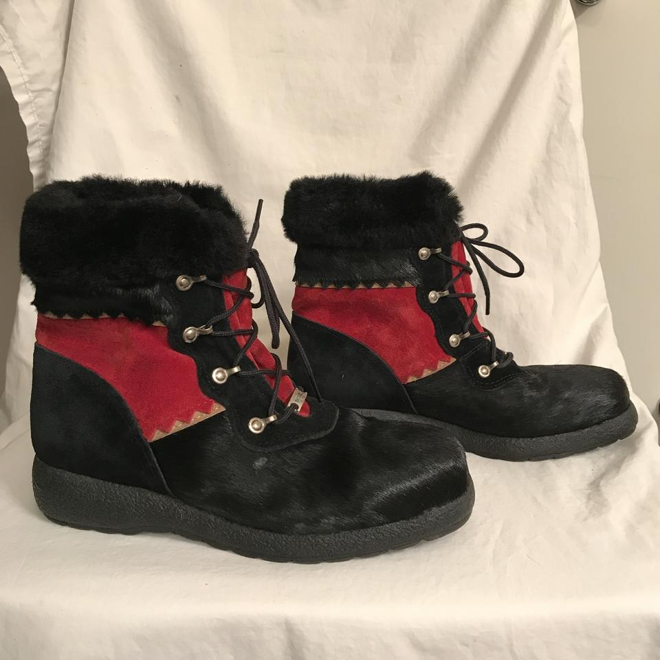 fd6118c38585 Sorel Lace-up Waterproof Suede Winter Calf Hair Black Red Boots Image 7.  12345678