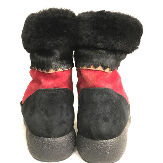 Sorel Lace-up Waterproof Suede Winter Calf Hair Black Red Boots