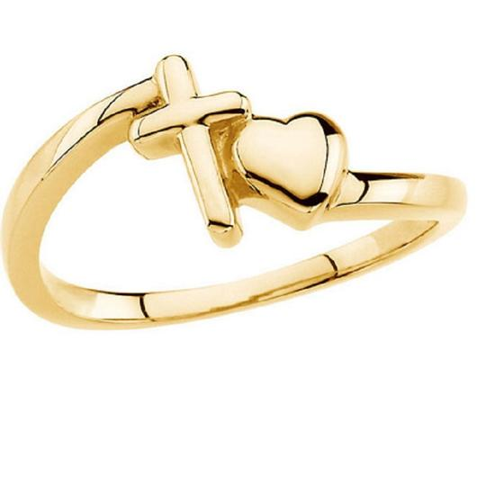 Apples of Gold With All Thy Heart Cross and Heart Ring, 14K Yellow Gold