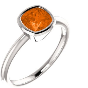 Apples of Gold Poppy-Orange Topaz Antique-Square Bezel Set Ring, 14K White Gold