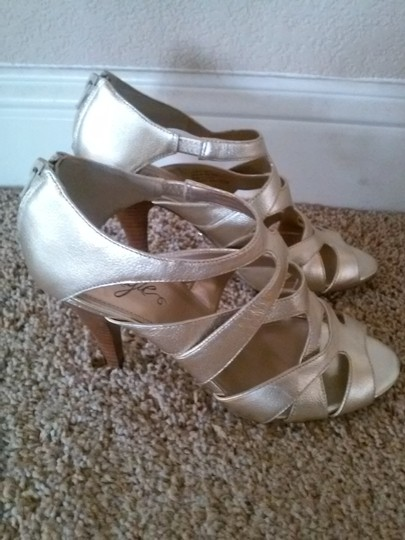 Fergie Leather Strappy High Heel Gold Sandals