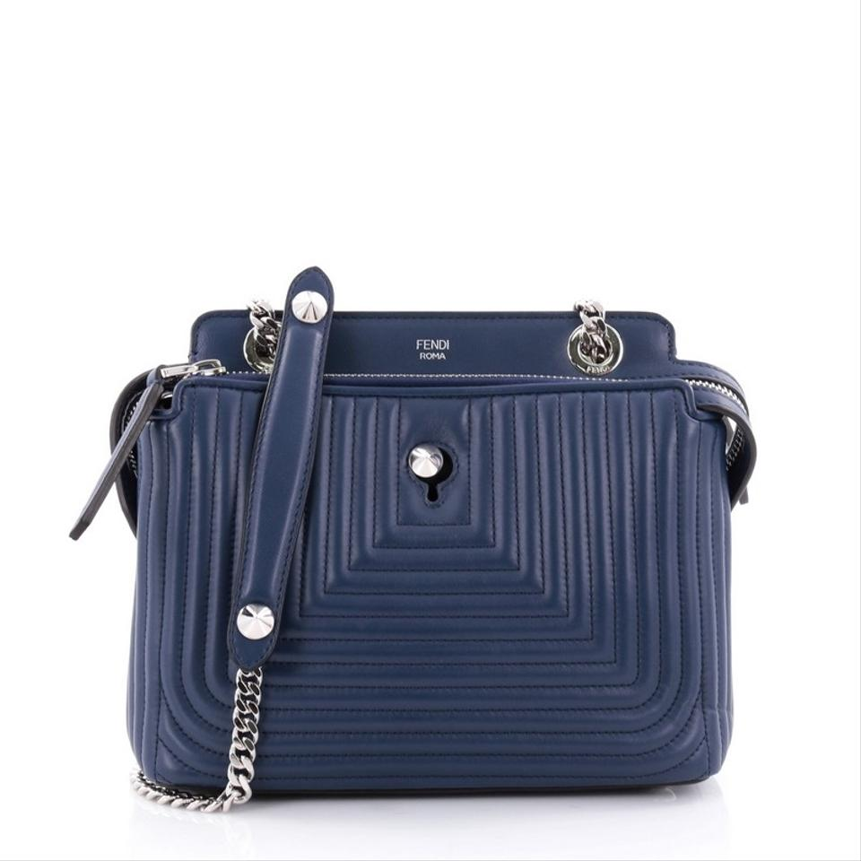 3edf3ca7b673 Fendi Dotcom Click Top Handle Quilted Small Blue Leather Shoulder Bag -  Tradesy
