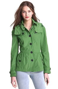 Burberry Zip Off Hood Packable Branded Buttons Epaulets Storm Flaps Green Jacket