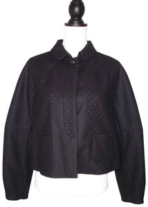 Piazza Sempione Wool Eyelet Perforated Cut Out Cropped Black/brown Jacket