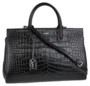 Saint Laurent Monogram Ysl Crocodile Sac De Jour Shoulder Bag