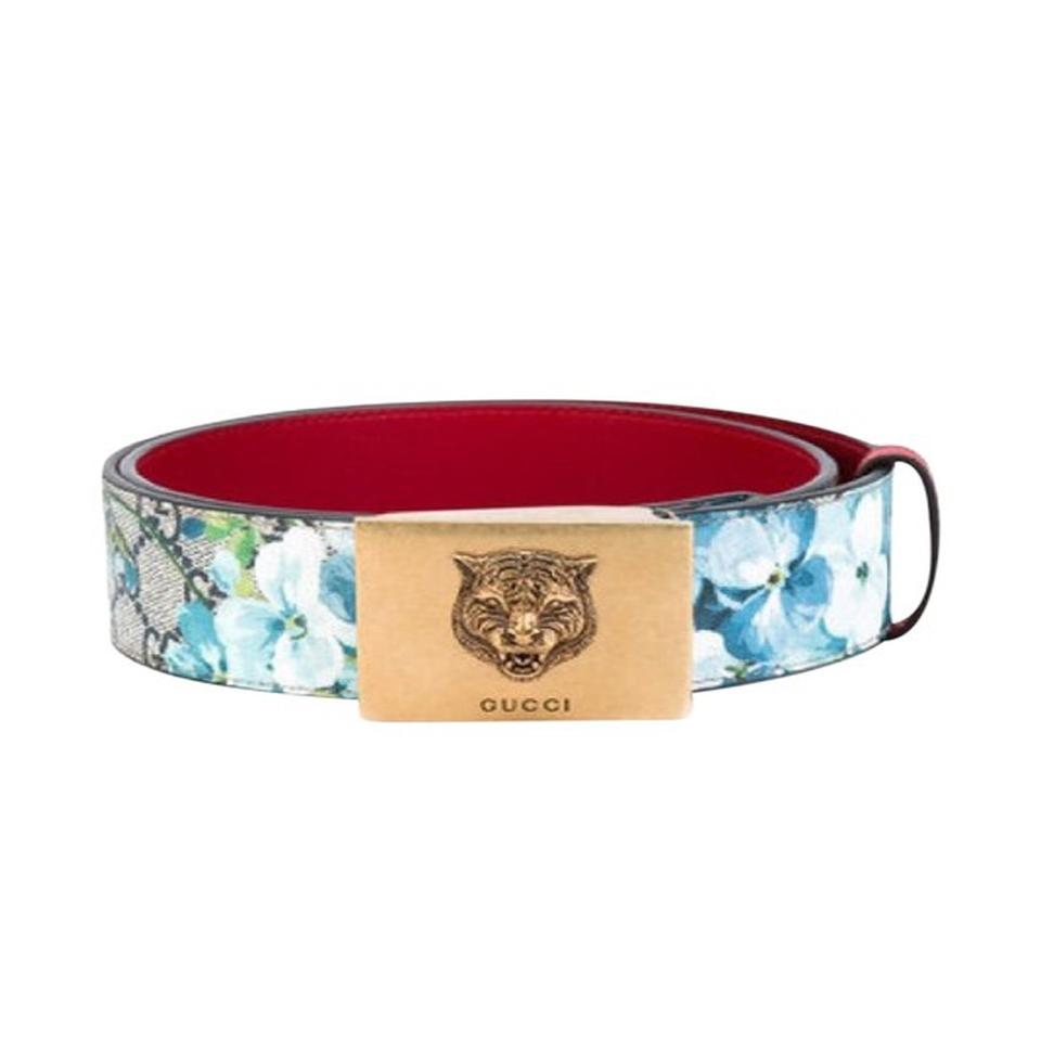 1ee06547335 Gucci Gucci Women s Blooms Red Leather Gold Lion Buckle Belt Size  34 Image  0 ...