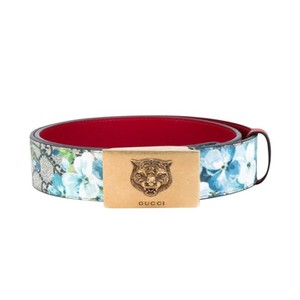 16930ab758b Gucci Gucci Women s Blooms Red Leather Gold Lion Buckle Belt Size  36