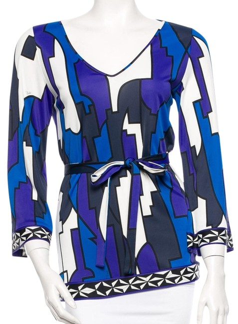 Emilio Pucci Blue White Longsleeve Color-blocking Geometric Abstract Print V-neck Belted Top Multicolor