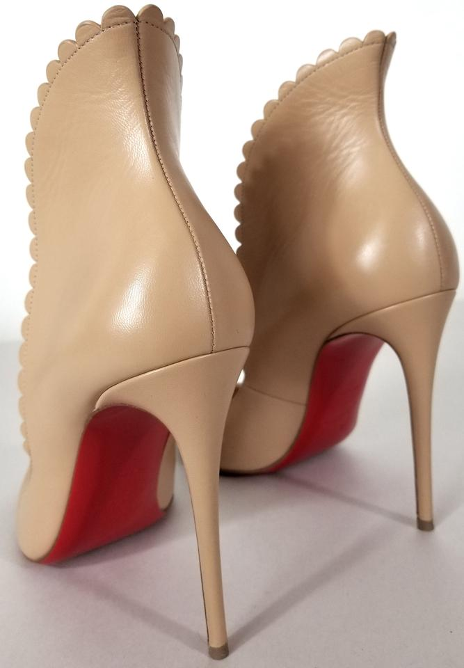00c1bd7ad06 Christian Louboutin Nude Leather Pijonina Scalloped 100mm Red Sole Pumps  Size EU 39 (Approx. US 9) Regular (M, B) 33% off retail