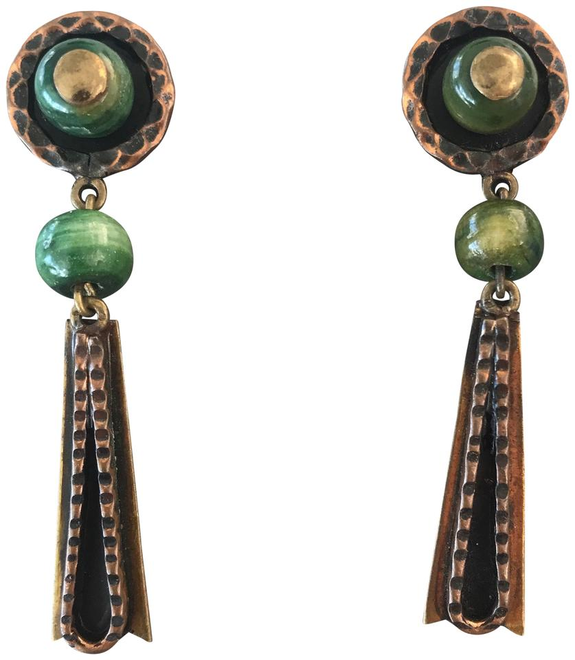Green gold banded agate and brass drop dangle chandelier earrings vintage vintage banded green agate and brass drop dangle chandelier earrings arubaitofo Choice Image