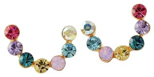 9k Gold Rainbow Half Loop Stud Earrings