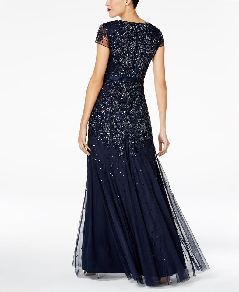850d8e8edb886 Adrianna Papell Midnight Blue Cap-sleeve Embellished Gown .