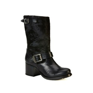 Frye Calf Hair Cowgirl Short Black Boots