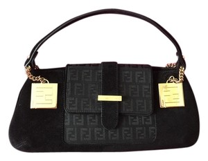 Fendi Baguette Suede Black Clutch