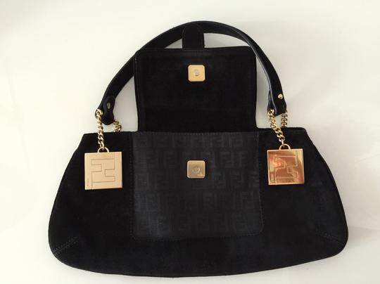 Fendi Uette Suede Black Clutch