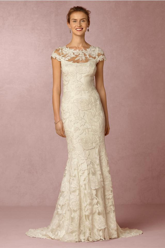 Tadashi Shoji Ivory Lace Exterior with Polyester Slip Elinor Gown ...