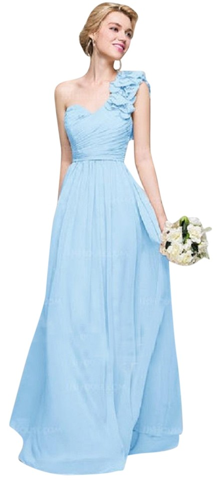Jj 39 s house sky blue chiffon a line princess one shoulder for Jj wedding dresses reviews