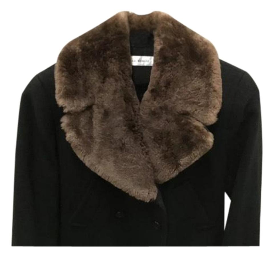 d5973acaf731 Isaac Mizrahi Black Brown Wool with Sheared Beaver Collar Coat Size ...
