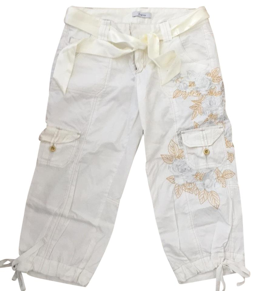 0e7279a764 Express White Satin Tie Embroidered Cargo Pants Size 4 (S, 27) - Tradesy