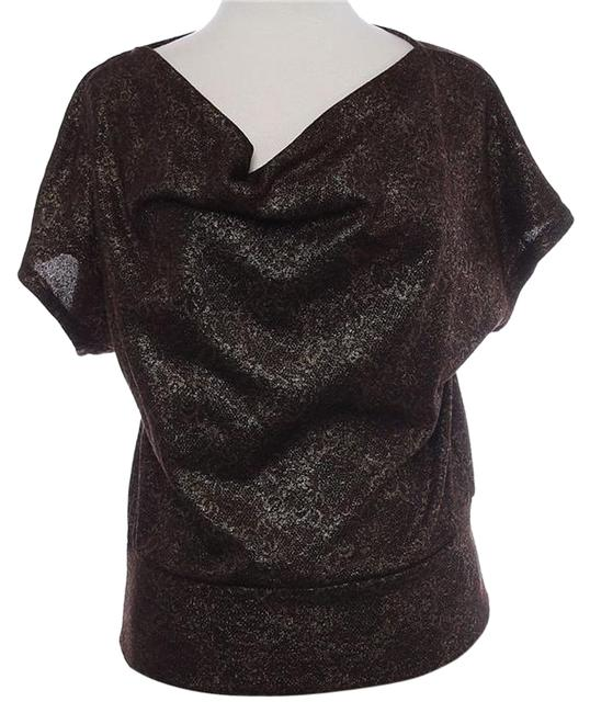 NY Collection Medium Large Lace Brown Drape Draped Loose Oversized Neck Neckline Cowl Shirt Date Night Night Out Casual New New Nwt Top bronze brown