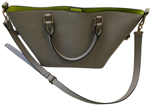 Urban Expressions Vegan Leather Tote in gray outside, lime interior