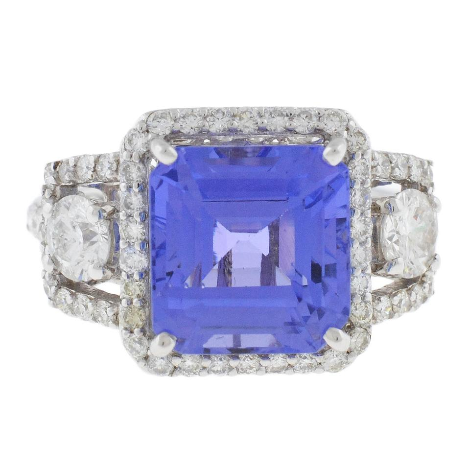 blue certified gia ring halo diamonds natural products tanzanite