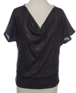 New York & Company Shirt Top Metallic Charcoal Grey