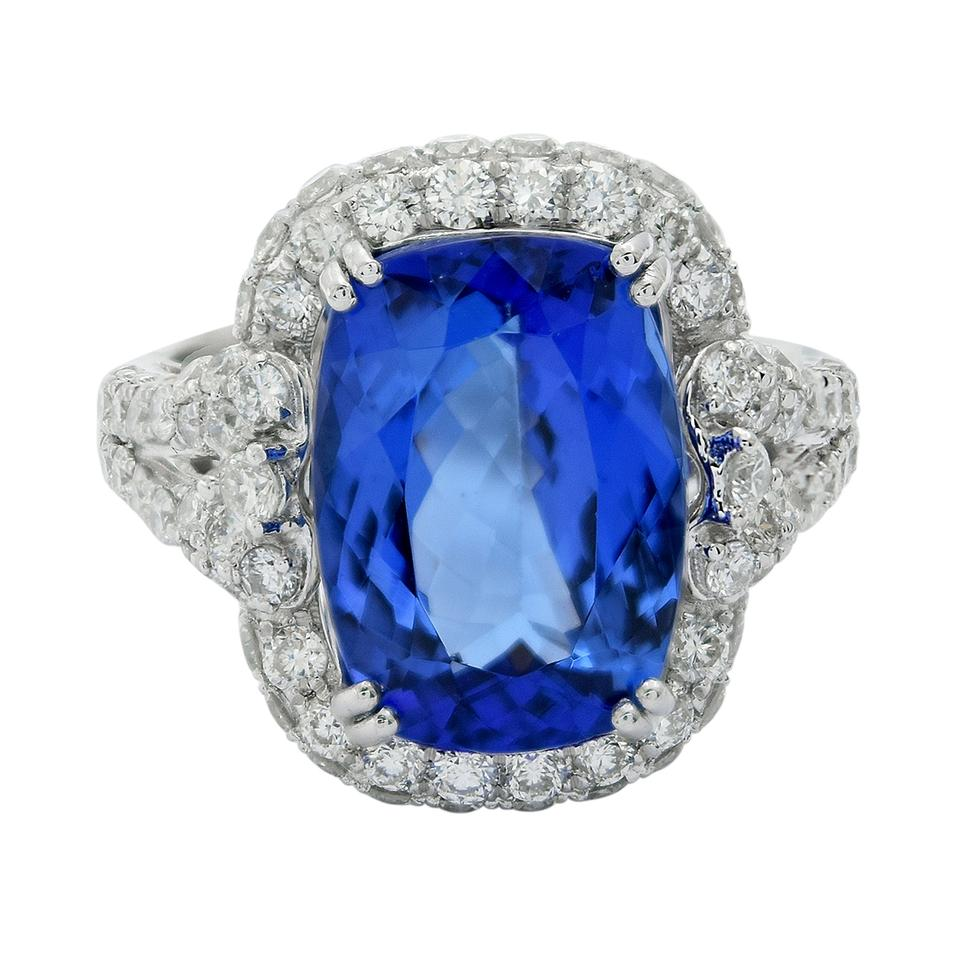 white kt gold certified blue ring natural q cut tcw diamond emerald and tanzanite gia