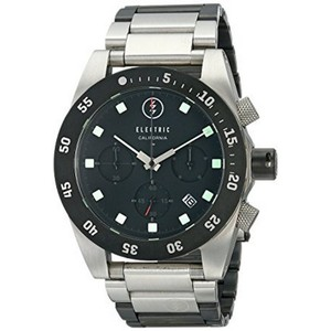 Electric EW0030010001 Men's Silver Steel Band With Black Analog Dial Watch