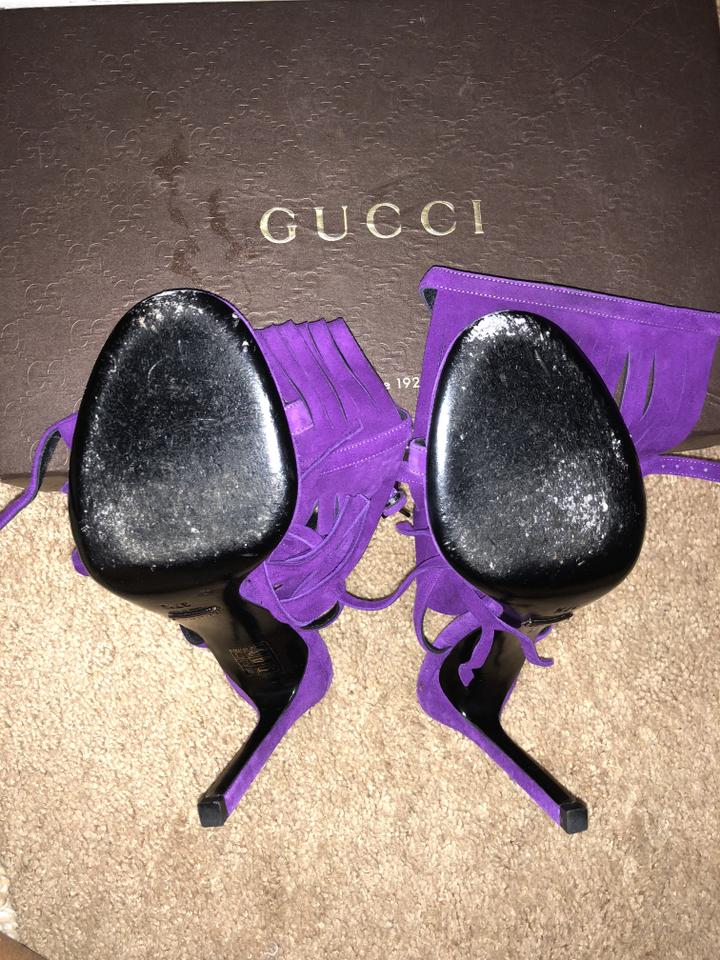 Gucci Purple Becky Beck Fringes Heels Style 347284 Berries