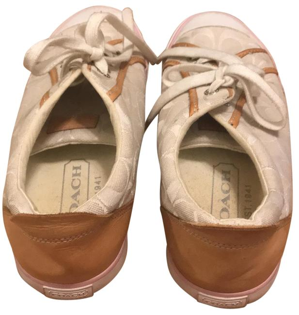 Item - White with Tan Leather and Pink Trim Barrett Sneakers Size US 9.5 Regular (M, B)