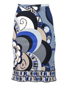 Emilio Pucci Pencil Abstract Skirt blue