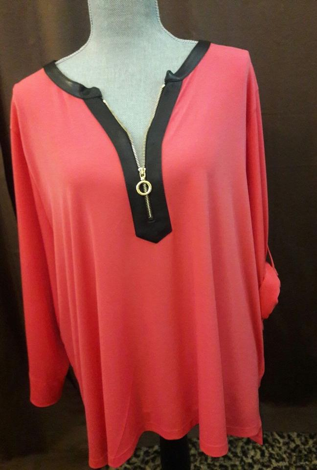 9a6e2809c1b Calvin Klein Faux Leather Tunic Plus-size Zip Neck Top Coral, Peach Image  2. 123
