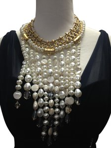 Chico's Chico's NWT Leather Gold old Opal big Pearls Necklace
