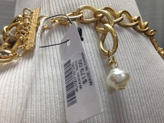 Chico's Chico's NWT Leather Gold old Opal big Pearls Necklace Image 1