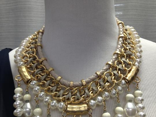 Chico's Chico's NWT Leather Gold old Opal big Pearls Necklace Image 3