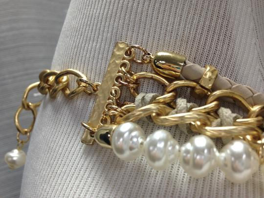 Chico's Chico's NWT Leather Gold old Opal big Pearls Necklace Image 4
