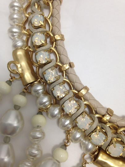 Chico's Chico's NWT Leather Gold old Opal big Pearls Necklace Image 5