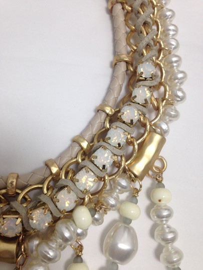 Chico's Chico's NWT Leather Gold old Opal big Pearls Necklace Image 6