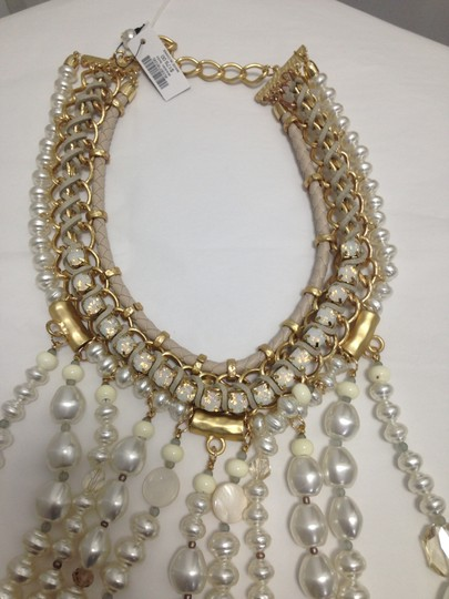 Chico's Chico's NWT Leather Gold old Opal big Pearls Necklace Image 7