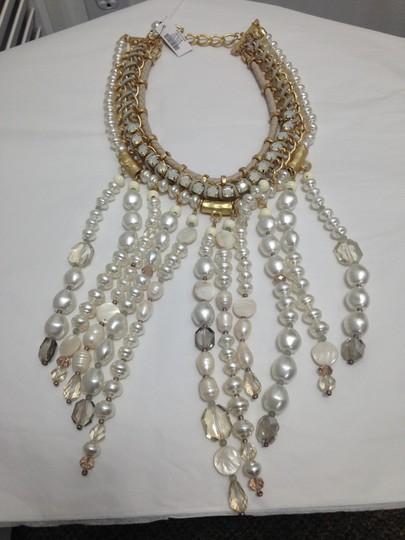 Chico's Chico's NWT Leather Gold old Opal big Pearls Necklace Image 8