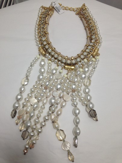 Chico's Chico's NWT Leather Gold old Opal big Pearls Necklace Image 9