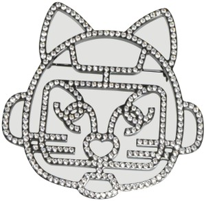 Chanel Chanel Rare Runway Large Robot Cat Choupette Crystal Brooch Pin A411