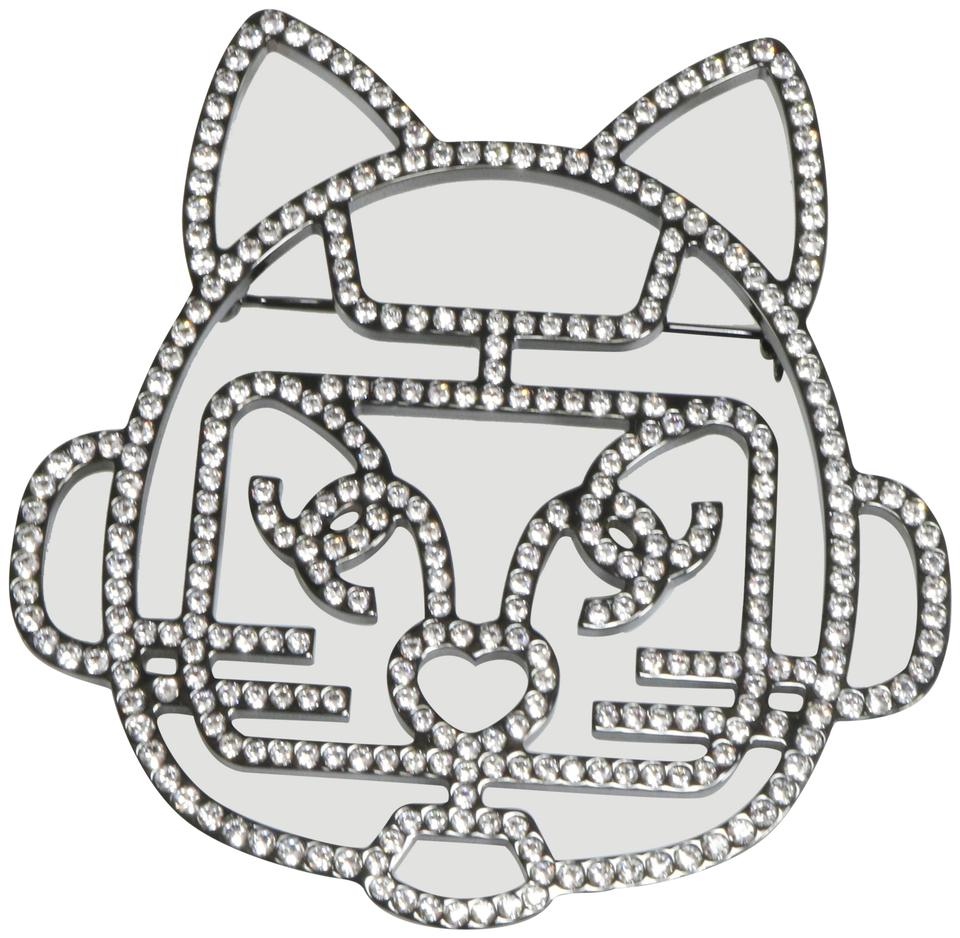 7352f8a1b470 Chanel Chanel Rare Runway Large Robot Cat Choupette Crystal Brooch Pin A411  Image 0 ...
