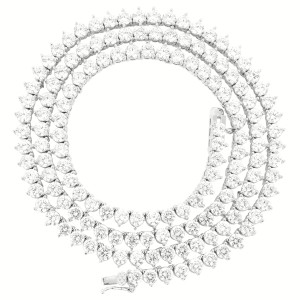 """Master Of Bling 4mm 26"""" Solitaire 3 Prong 14k White Gold Finish Tennis Necklace"""