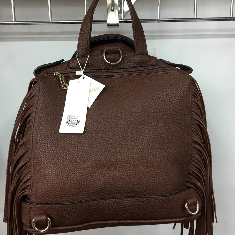 Fashion Jacket with Fringe Pack Handbag Brown Faux Leather Backpack -  Tradesy 081269c8170c3