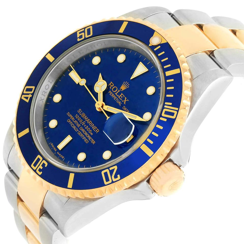 Rolex Watch Gold And Blue