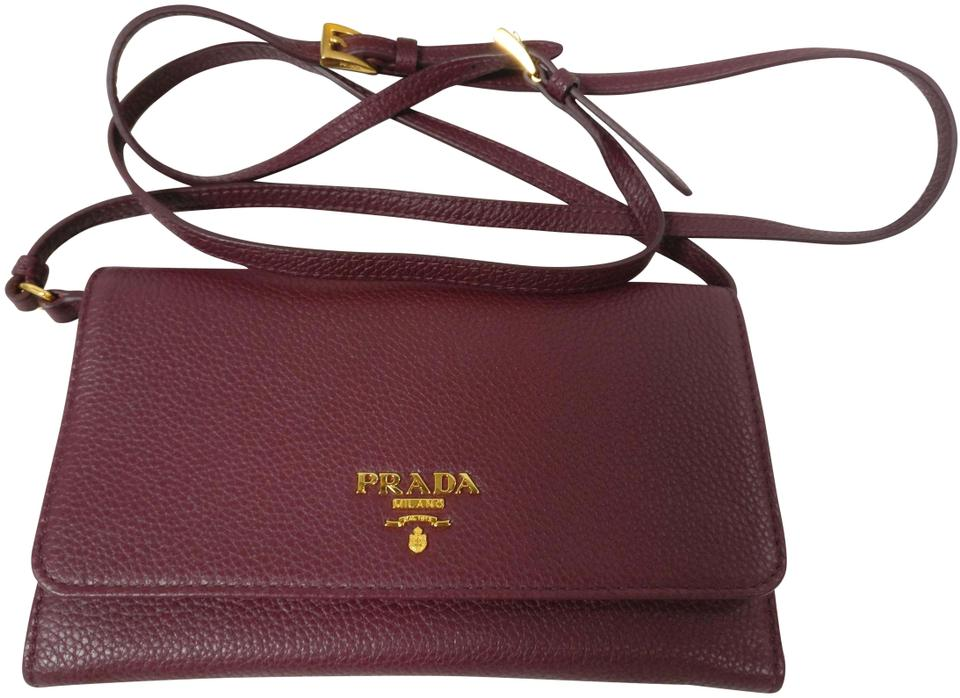 0aa3ce408c23 Prada New 1m1437 Purse Pouch Wallet Brown Leather Cross Body Bag ...