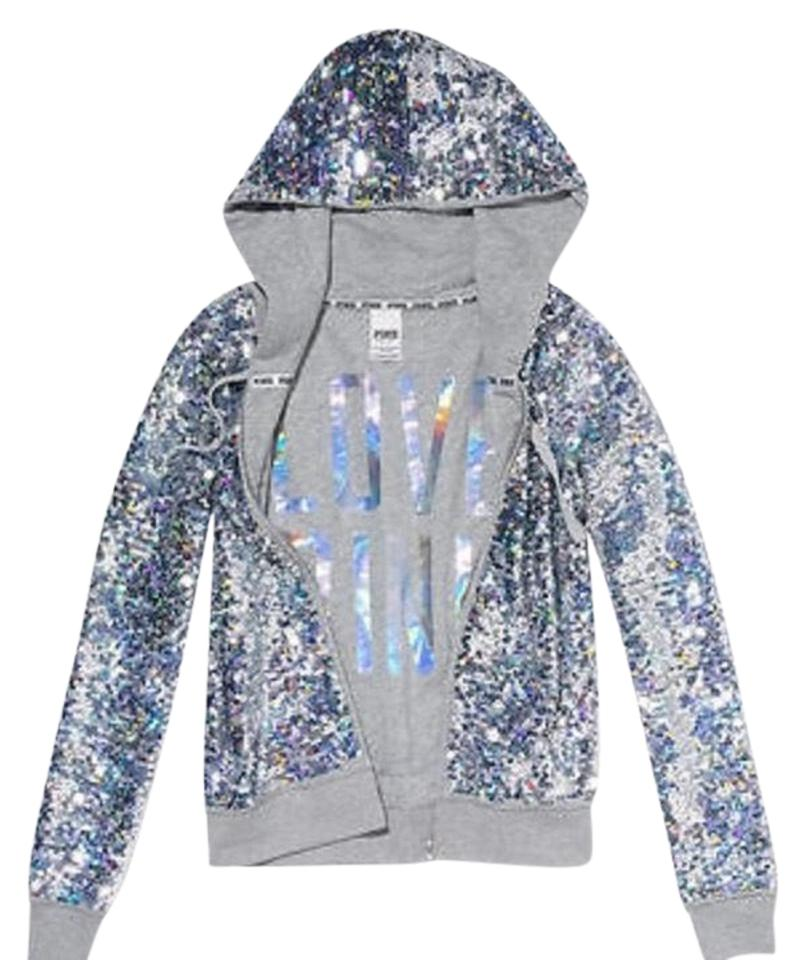 c078a6231d3 Victoria s Secret Pink Vs Magnificent Sequin Hoodie Reversible Runway  Activewear Outerwear